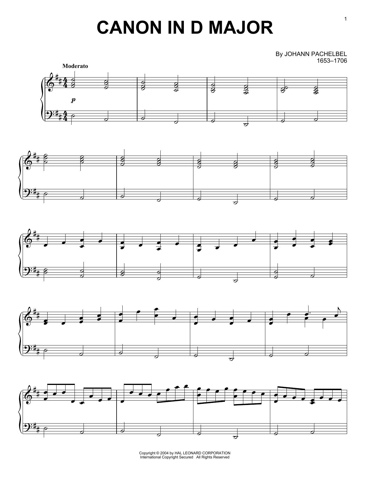 Partition piano Canon In D de Johann Pachelbel - Piano Solo