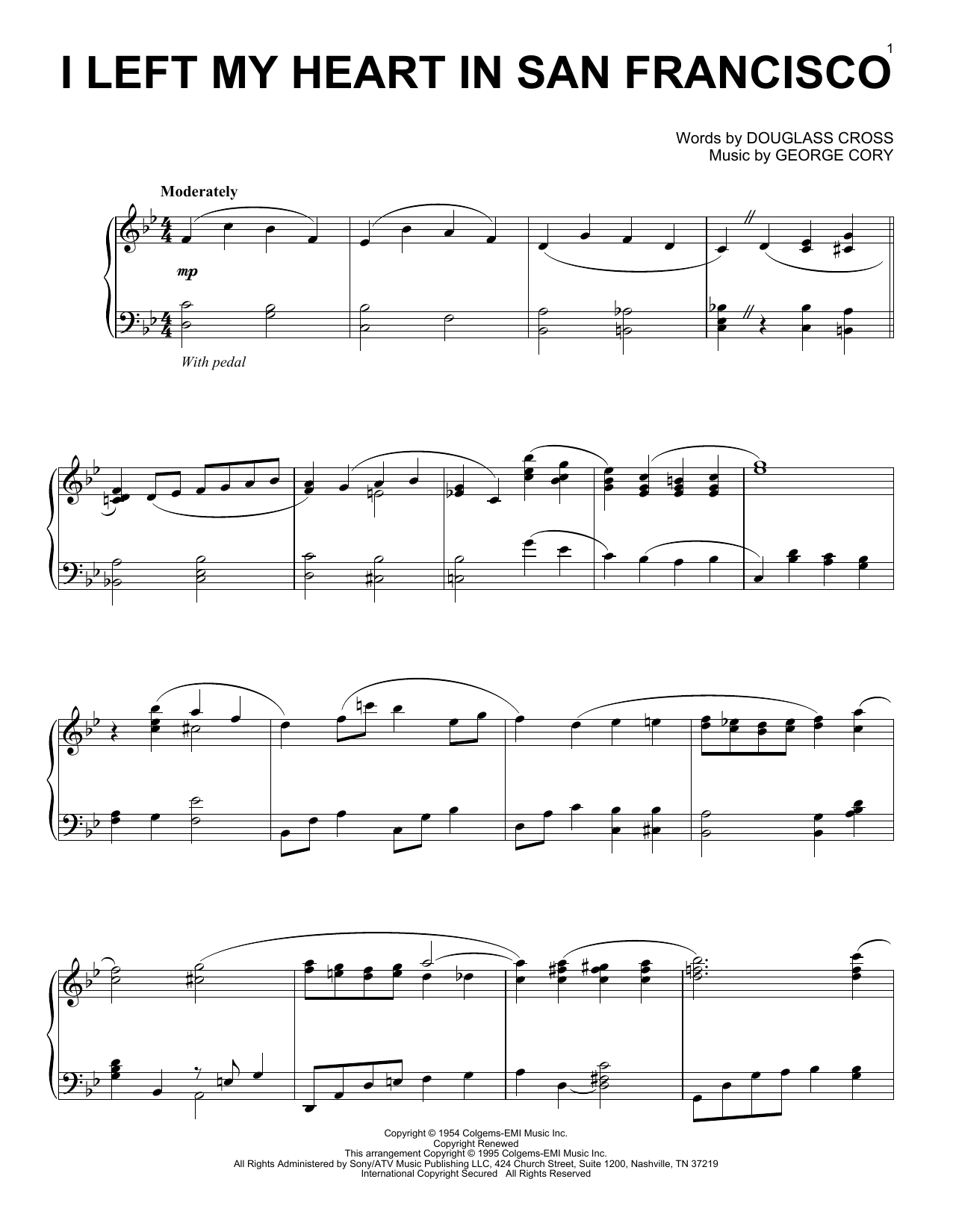 I Left My Heart In San Francisco sheet music for piano solo by George Cory