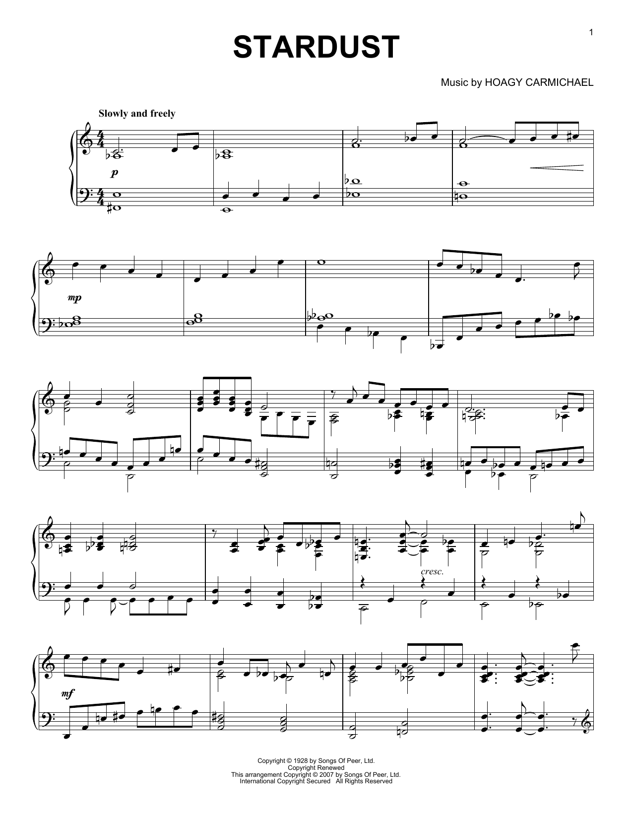 Stardust sheet music for piano solo by Mitchell Parish