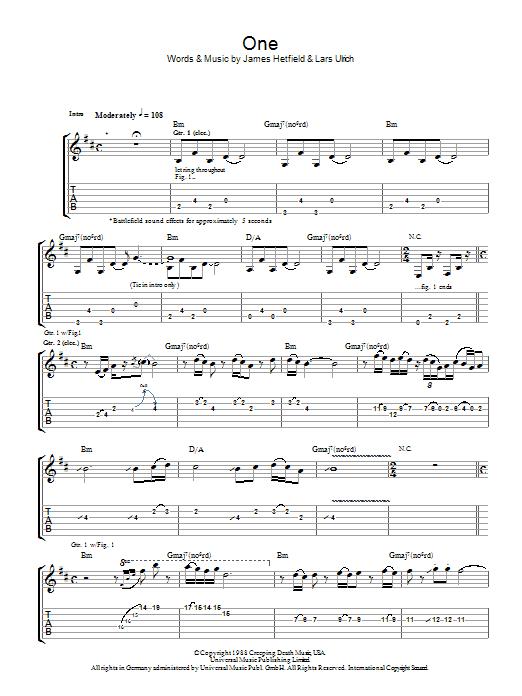 partition guitare one metallica