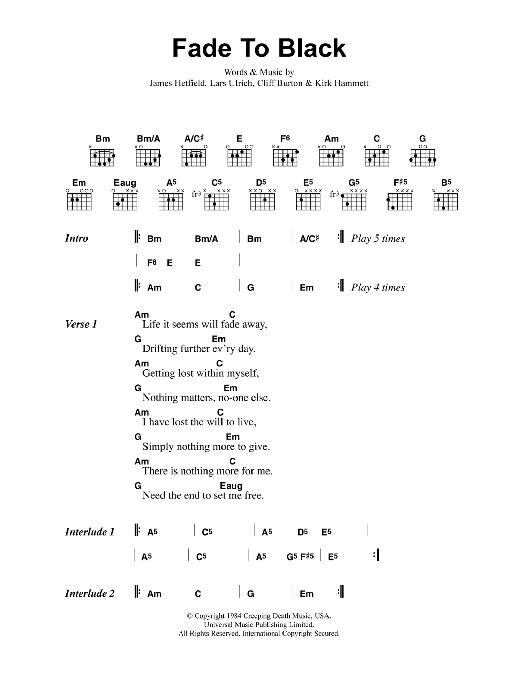 Fade to black guitar chords