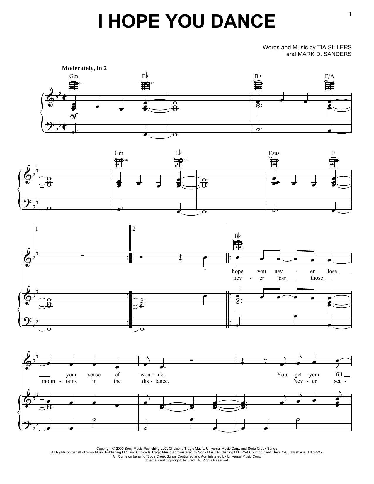 Partition piano I Hope You Dance de Lee Ann Womack - Piano Voix Guitare (Mélodie Main Droite)