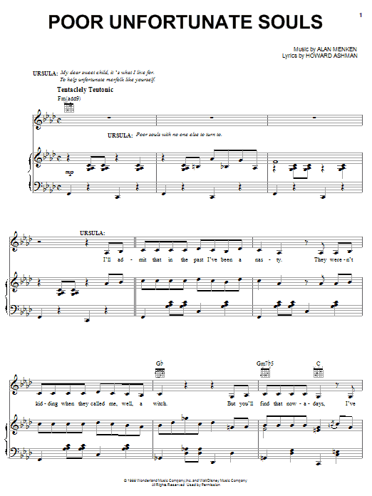 Partition piano Poor Unfortunate Souls de Alan Menken - Piano Voix Guitare (Mélodie Main Droite)