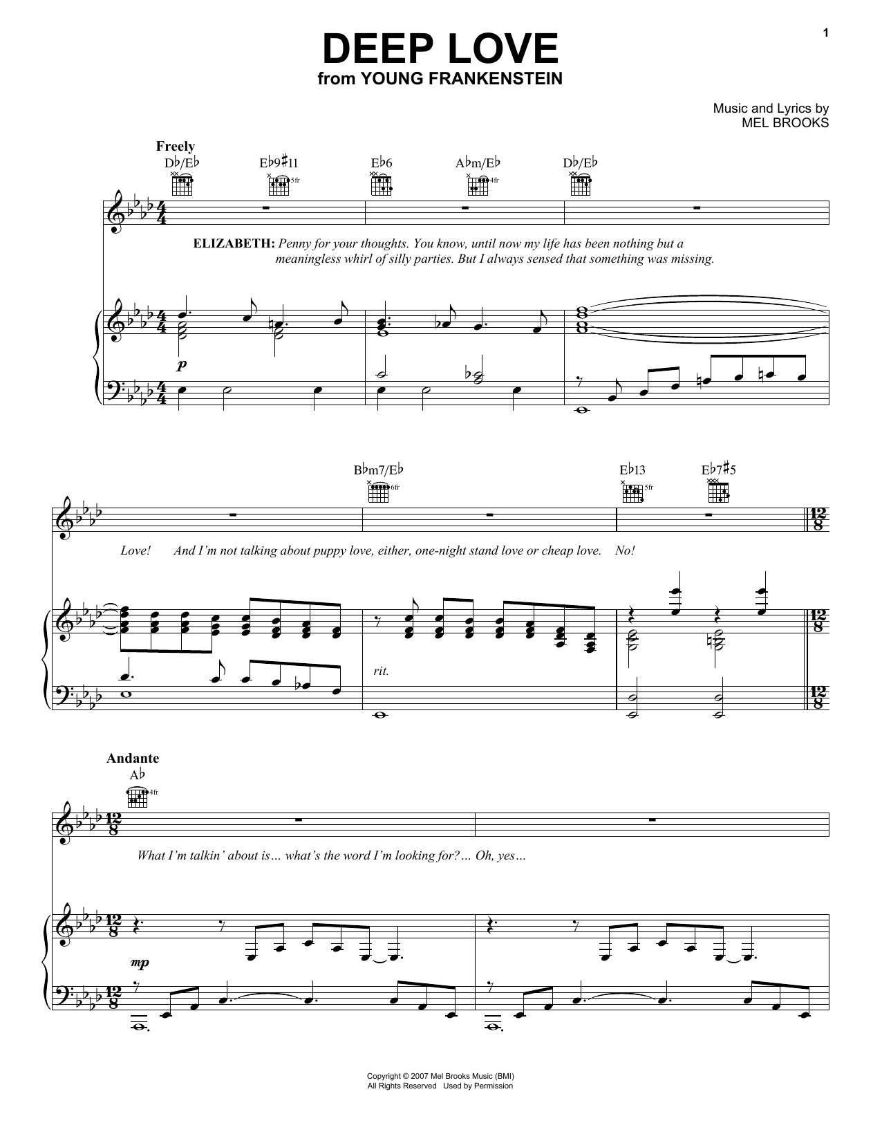 Partition piano Deep Love de Mel Brooks - Piano Voix Guitare (Mélodie Main Droite)
