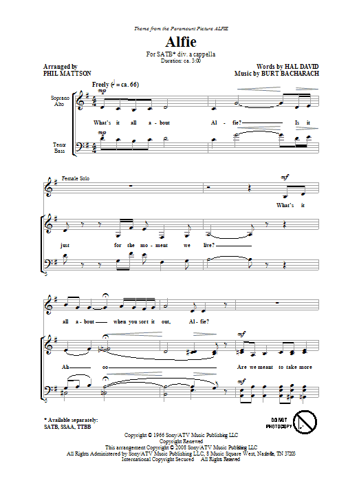 Partition chorale Alfie de Phil Mattson - SATB
