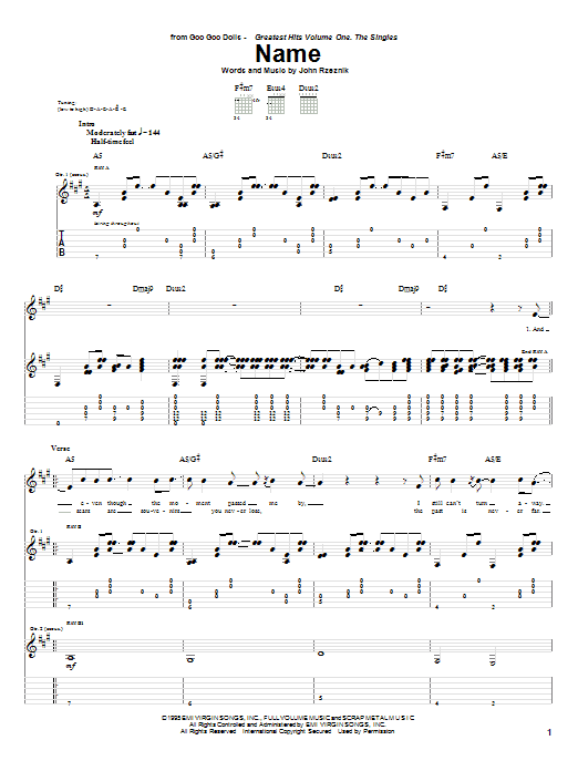 Tablature guitare Name de Goo Goo Dolls - Tablature Guitare