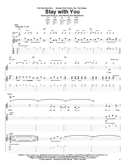 Tablature guitare Stay With You de Goo Goo Dolls - Tablature Guitare
