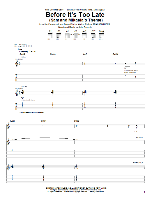 Tablature guitare Before It's Too Late (Sam And Mikaela's Theme) de Goo Goo Dolls - Tablature Guitare