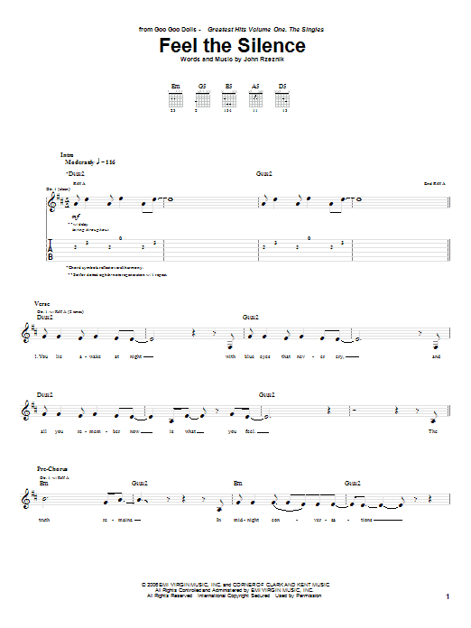 Tablature guitare Feel The Silence de Goo Goo Dolls - Tablature Guitare