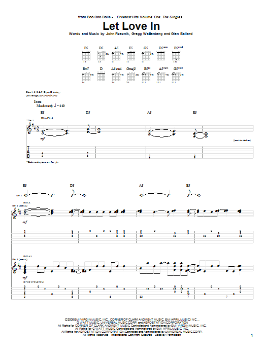 Let Love In sheet music for guitar solo (tablature) by John Rzeznik