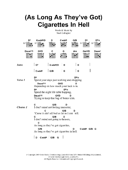 (As Long As They've Got) Cigarettes In Hell sheet music for guitar solo (chords, lyrics, melody) by Noel Gallagher