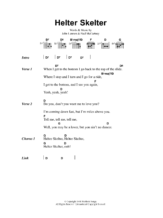 Helter Skelter sheet music for guitar solo (chords, lyrics, melody) by John Lennon