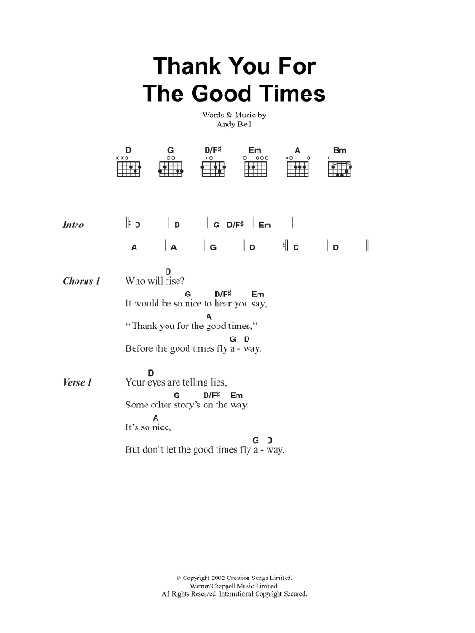Thank You For The Good Times sheet music for guitar solo (chords, lyrics, melody) by Andy Bell