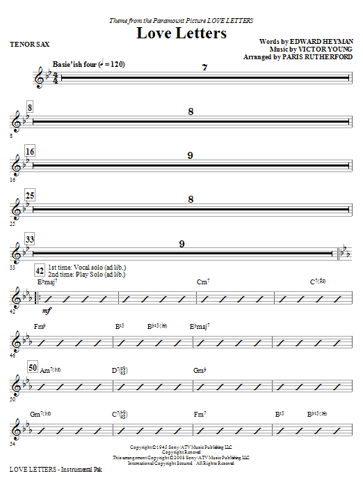 Love Letters (complete set of parts) sheet music for orchestra/band (Rhythm) by Paris Rutherford