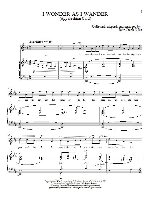 Partition piano I Wonder As I Wander de John Jacob Niles - Piano Voix
