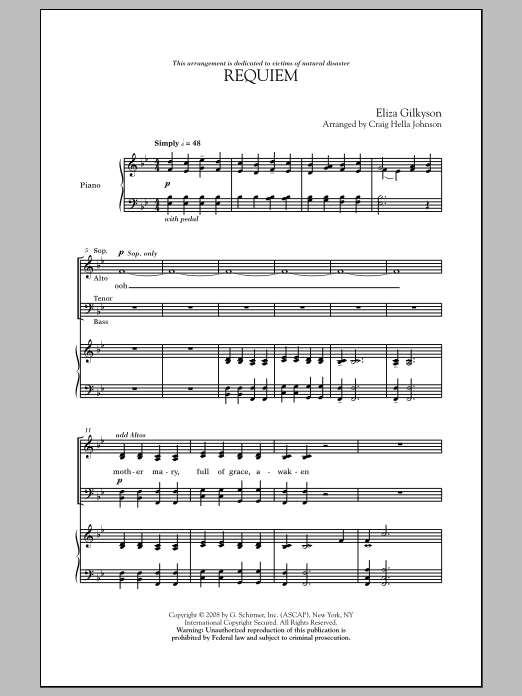 Requiem sheet music for choir and piano (SATB) by Eliza Gilkyson