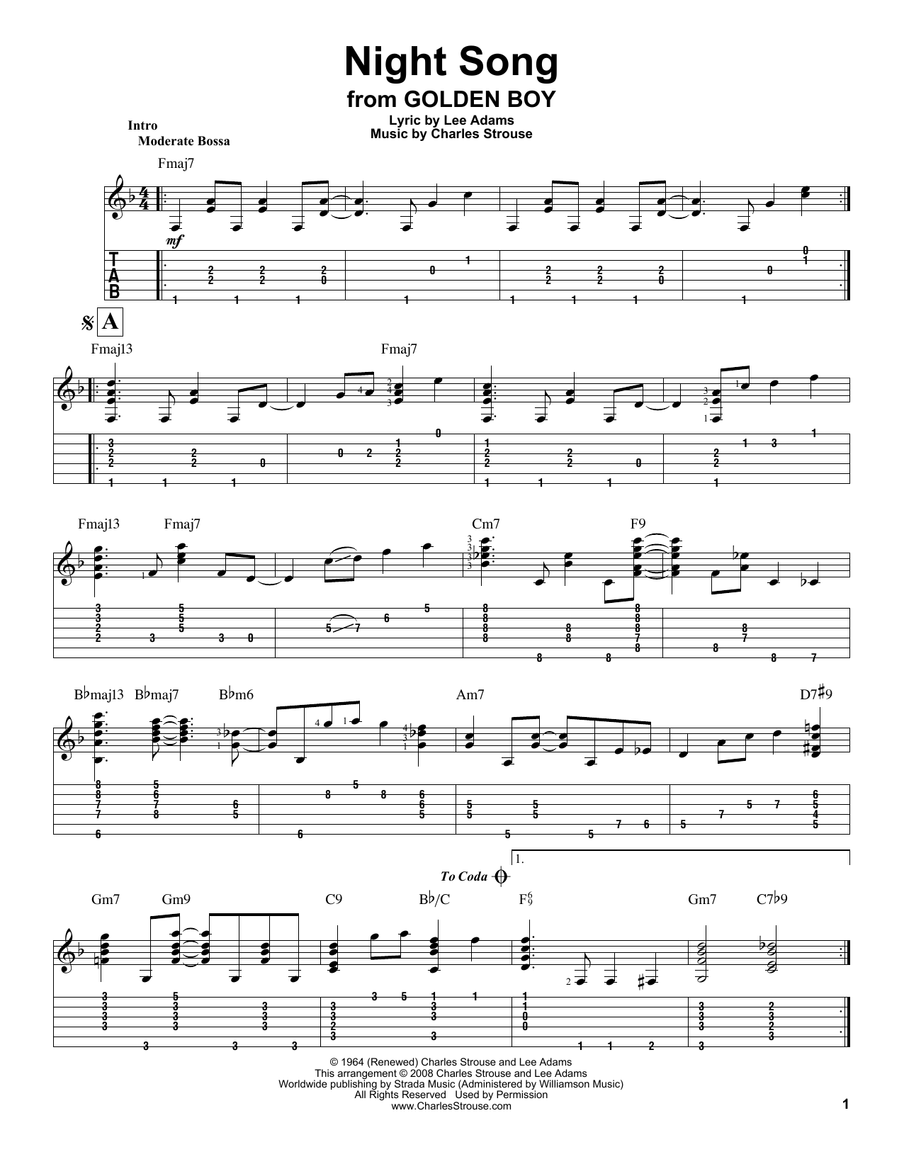 Tablature guitare Night Song de Charles Strouse - Tablature Guitare