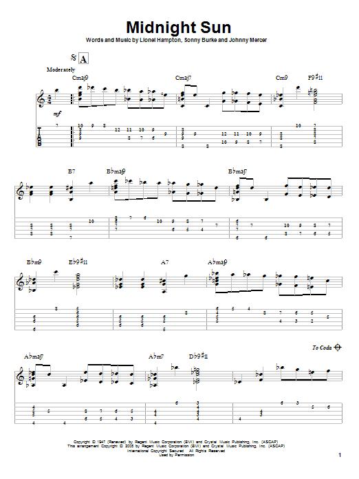 Tablature guitare Midnight Sun de Lionel Hampton - Tablature Guitare