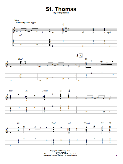 Tablature guitare St. Thomas de Sonny Rollins - Tablature Guitare