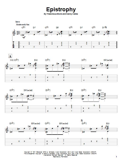 Tablature guitare Epistrophy de Thelonious Monk - Tablature Guitare