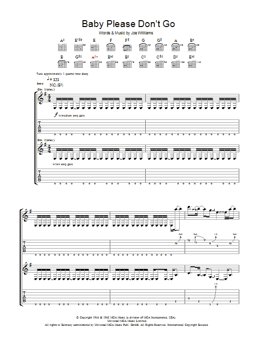 Baby, Please Don't Go sheet music for guitar solo (tablature) by Joe Williams