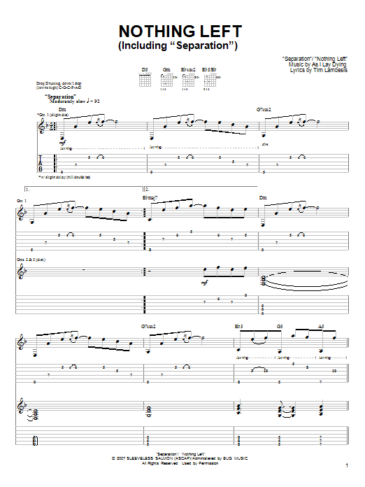 Tablature guitare Nothing Left de As I Lay Dying - Tablature Guitare