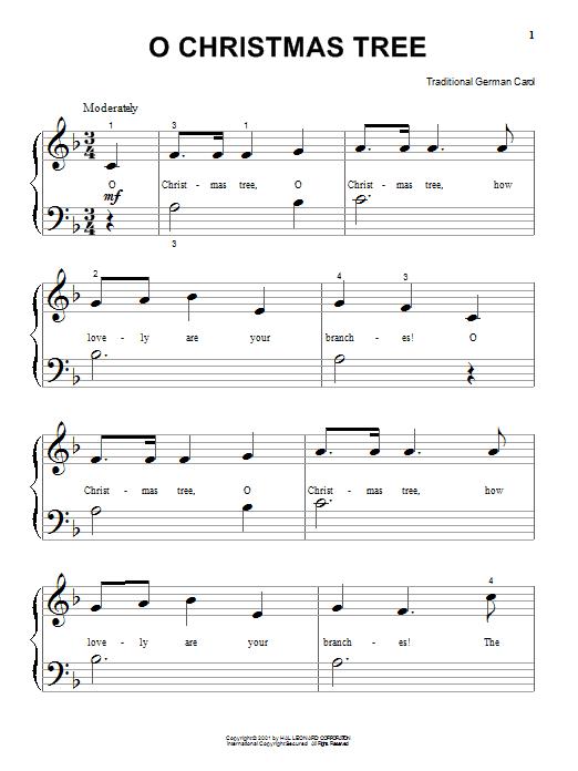 Partition piano O Christmas Tree de Christmas Carol - Piano Facile