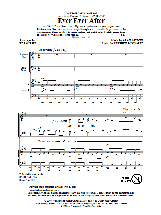 Partition chorale Ever Ever After de Carrie Underwood - SATB