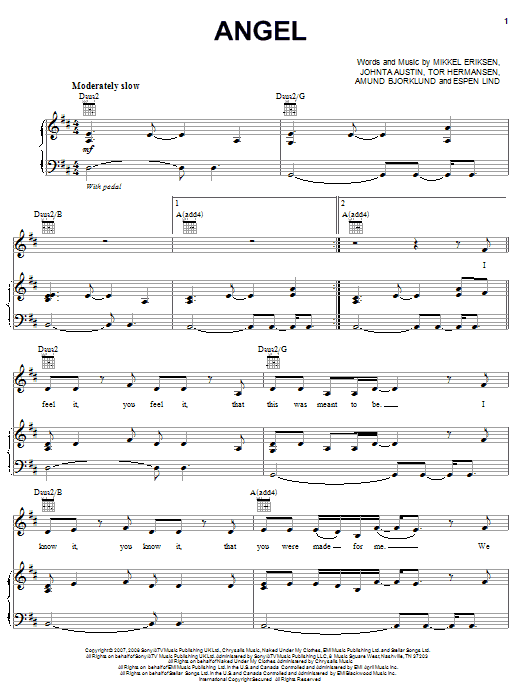 Angel sheet music for voice, piano or guitar by Tor Erik Hermansen
