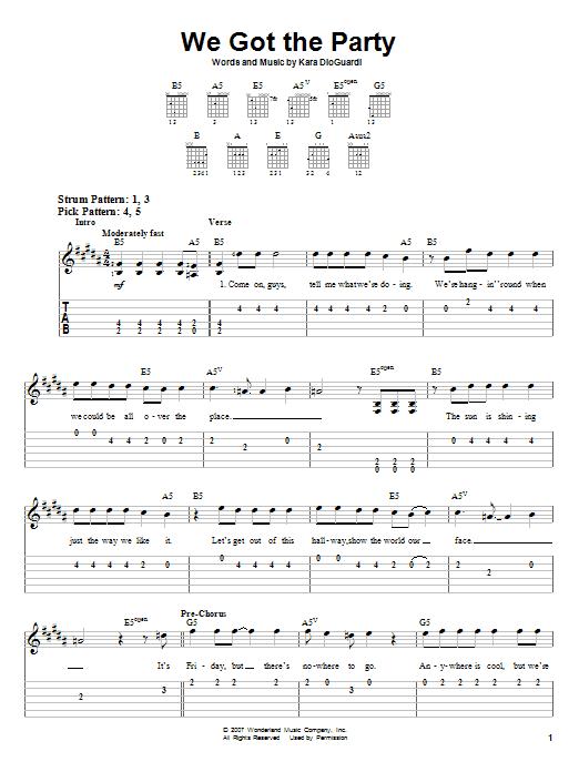 Tablature guitare We Got The Party de Hannah Montana - Tablature guitare facile