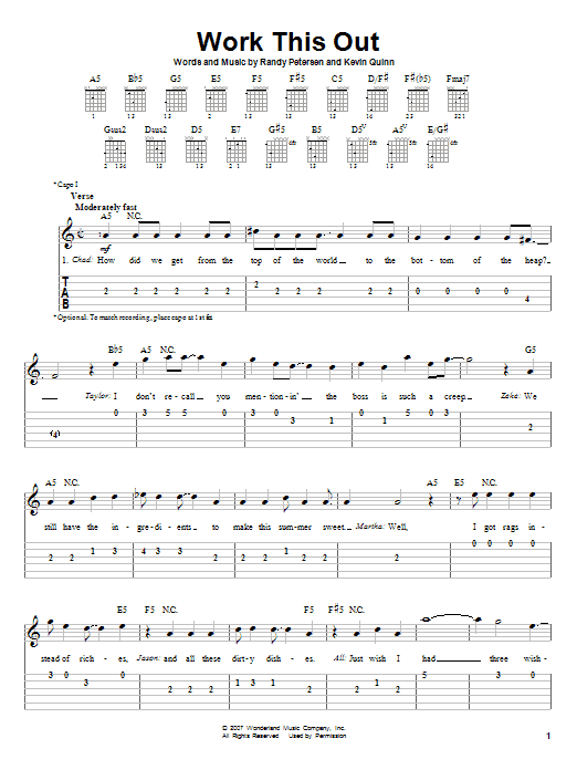 Work This Out sheet music for guitar solo (easy tablature) by Randy Petersen