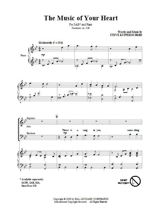 Partition chorale The Music Of Your Heart de Steve Kupferschmid - SAB