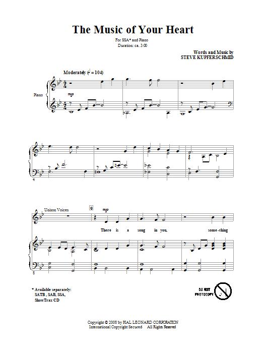 Partition chorale The Music Of Your Heart de Steve Kupferschmid - SSA