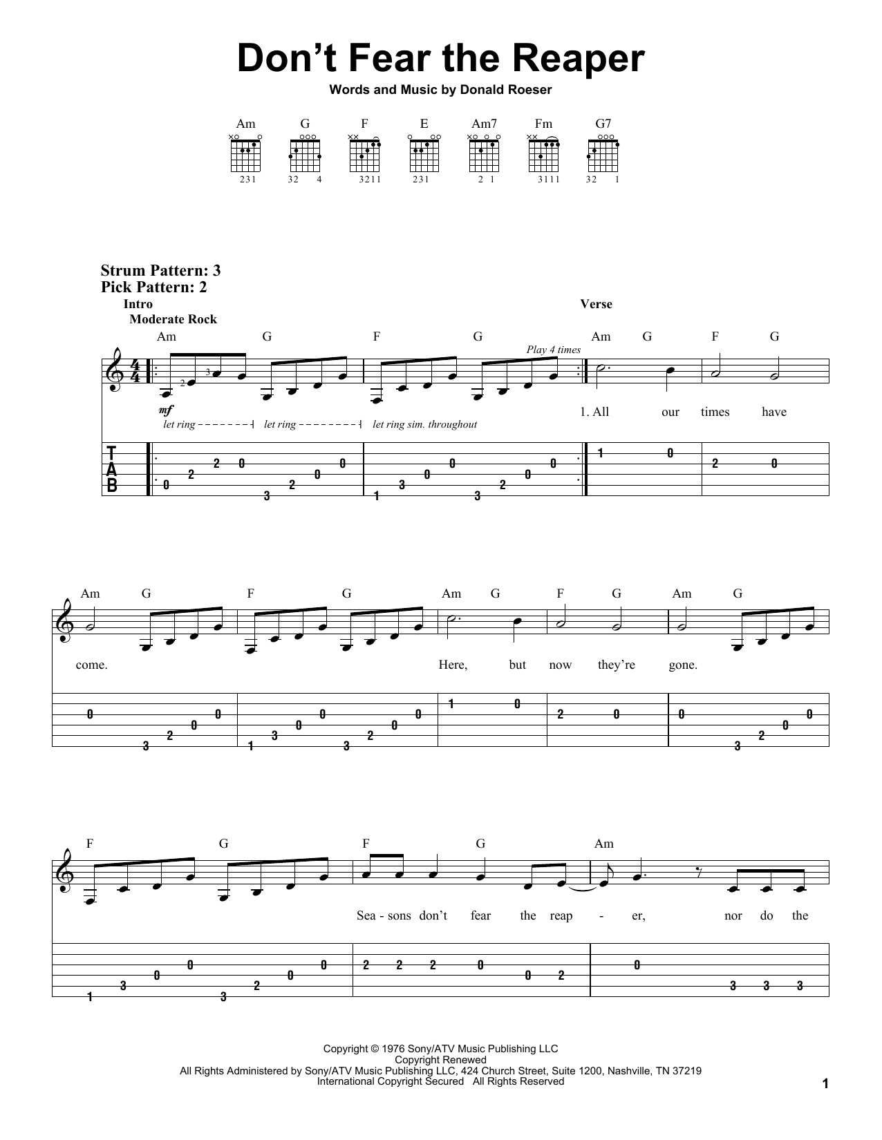 Don't Fear The Reaper sheet music for guitar solo (easy tablature) by Donald Roeser