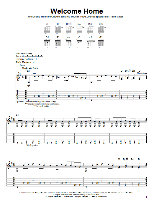 Welcome Home sheet music for guitar solo (easy tablature) by Travis Stever