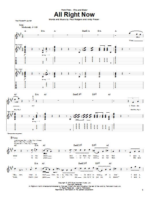 Tablature guitare All Right Now de Free - Tablature Guitare