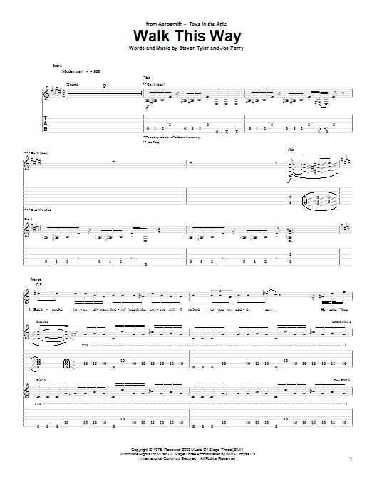 Tablature guitare Walk This Way de Aerosmith - Tablature Guitare