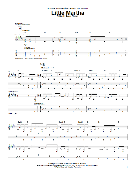 Little Martha sheet music for guitar solo (tablature) by Allman Brothers Band