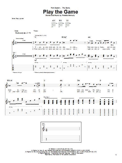 Tablature guitare Play The Game de Queen - Tablature Guitare