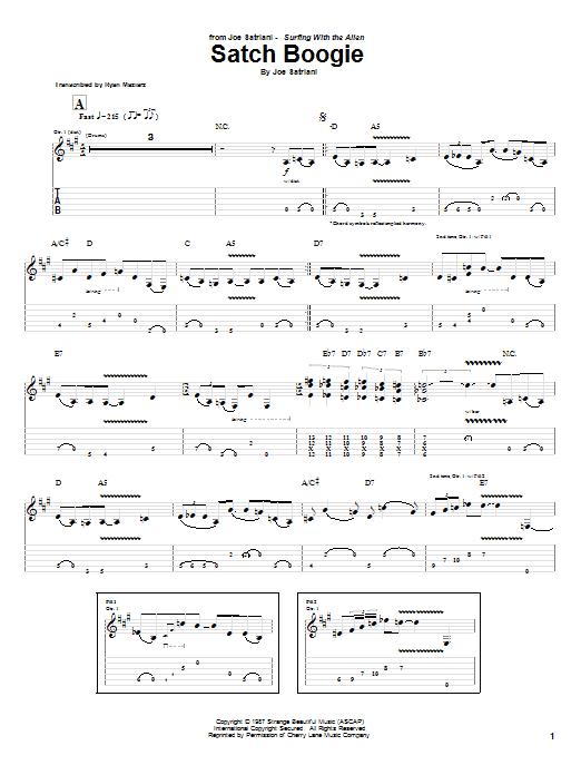 Tablature guitare Satch Boogie de Joe Satriani - Tablature Guitare