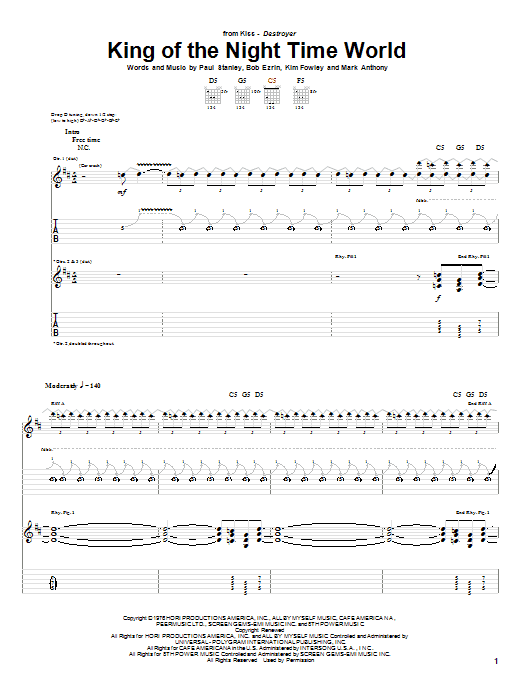 King Of The Night Time World sheet music for guitar (tablature) by Paul Stanley