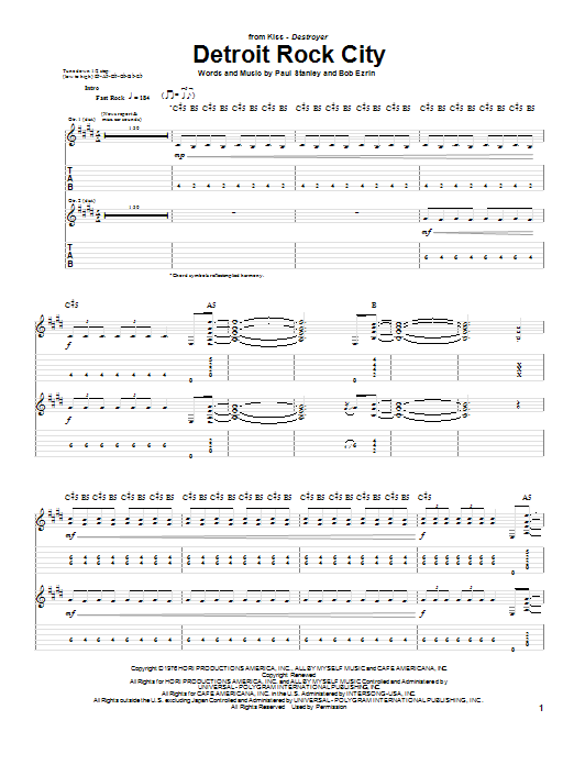 Detroit Rock City sheet music for guitar (tablature) by Paul Stanley