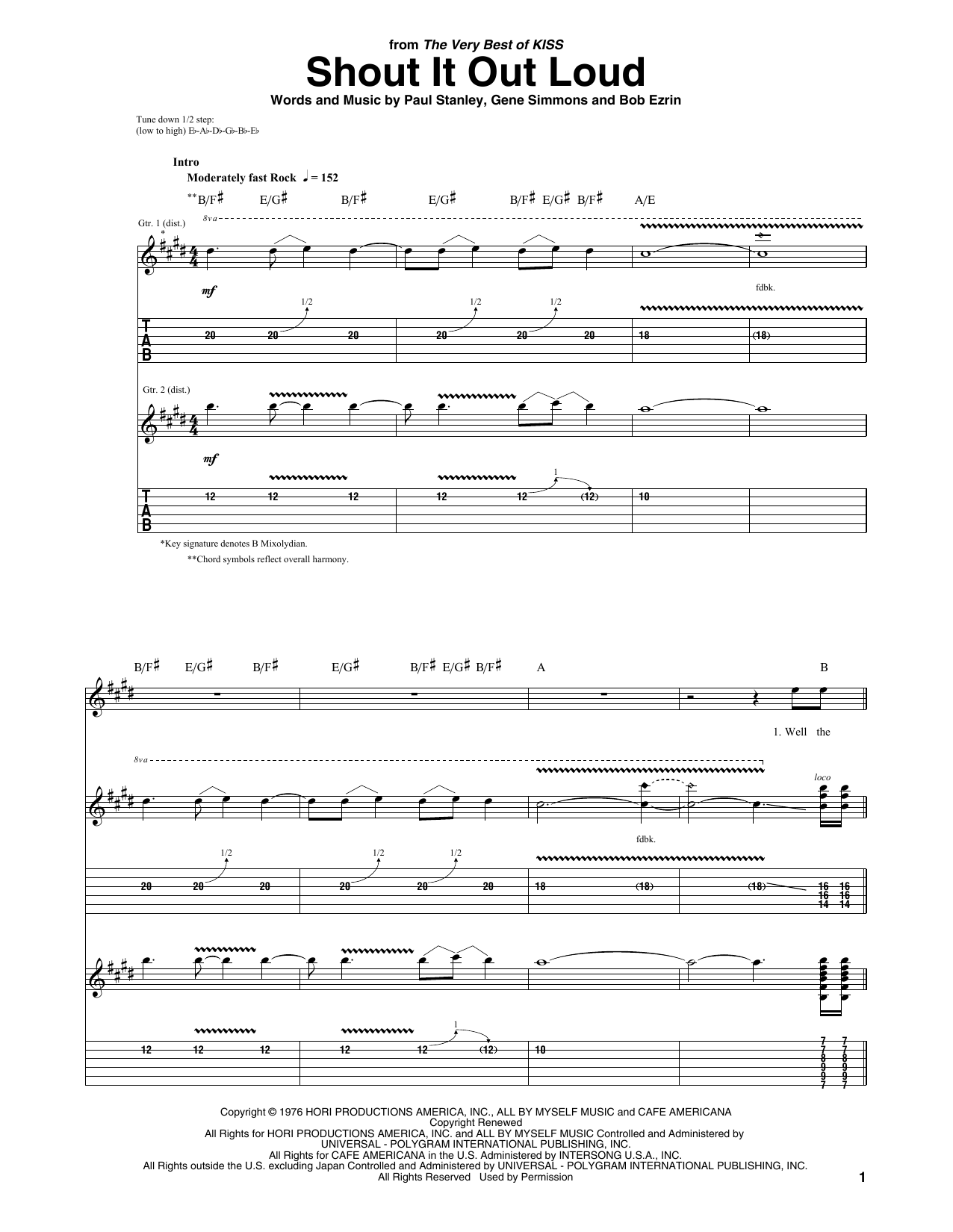Tablature guitare Shout It Out Loud de KISS - Tablature Guitare