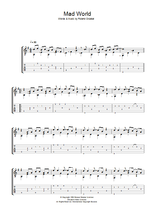 Mad World sheet music for guitar solo (tablature) by Roland Orzabal