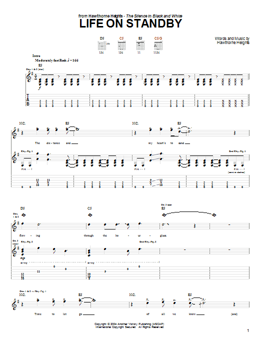 Tablature guitare Life On Standby de Hawthorne Heights - Tablature Guitare