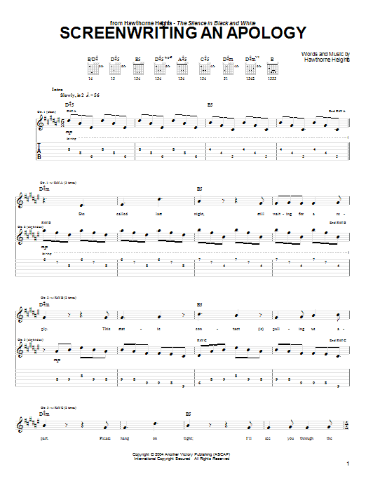 Tablature guitare Screenwriting An Apology de Hawthorne Heights - Tablature Guitare