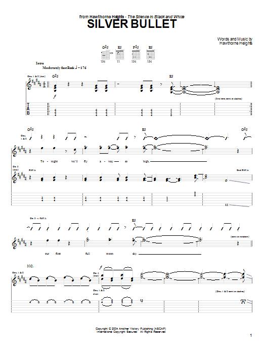 Tablature guitare Silver Bullet de Hawthorne Heights - Tablature Guitare