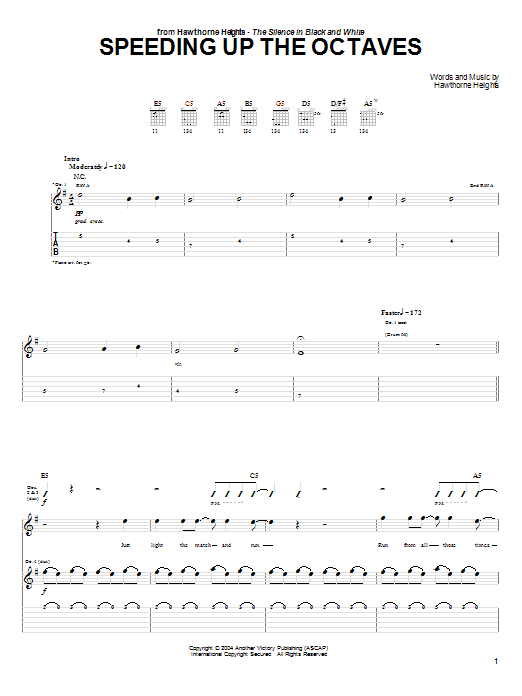 Tablature guitare Speeding Up The Octaves de Hawthorne Heights - Tablature Guitare