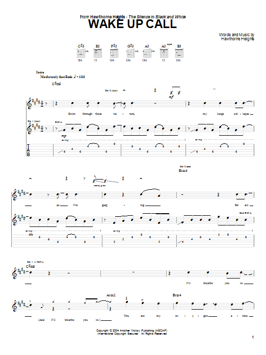 Tablature guitare Wake Up Call de Hawthorne Heights - Tablature Guitare