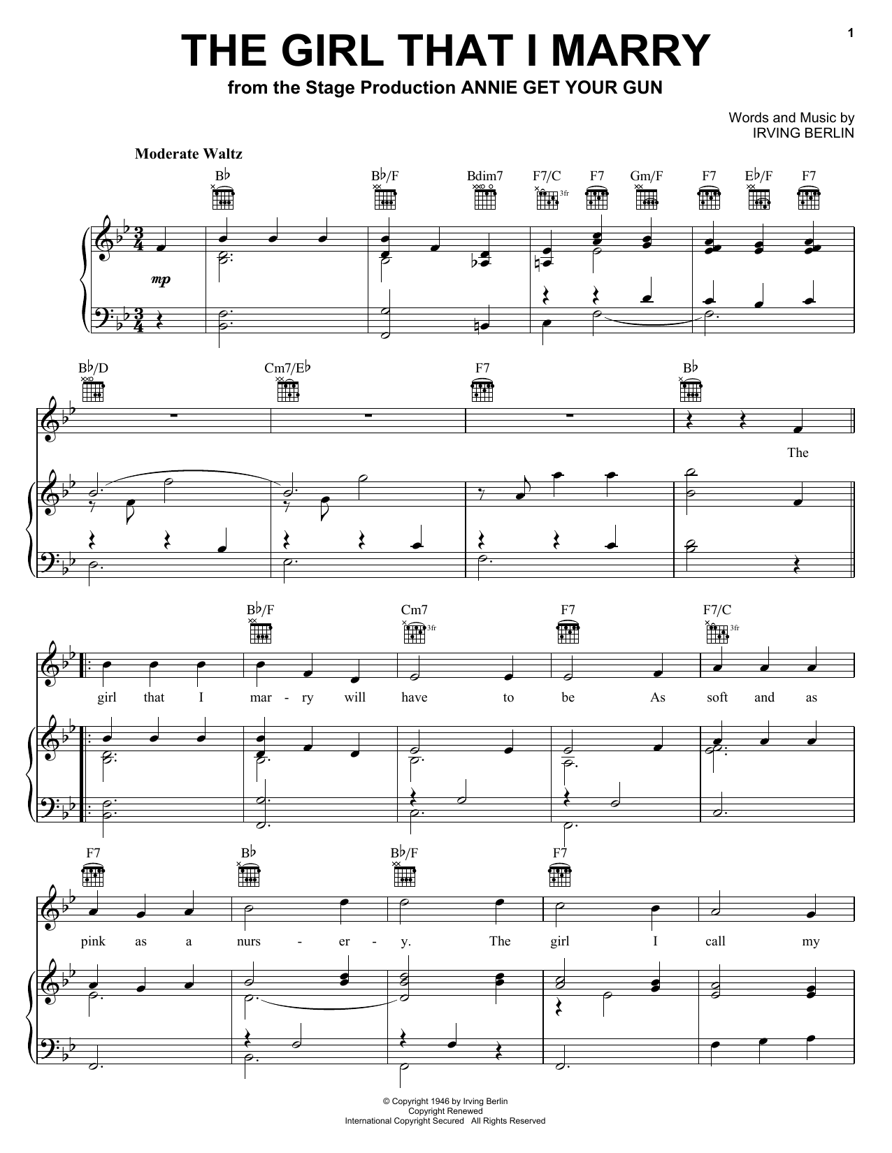 Partition piano The Girl That I Marry de Irving Berlin - Piano Voix Guitare (Mélodie Main Droite)